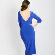 double satin blue dress